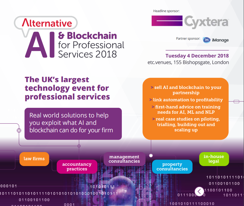 Alternative: AI & Blockchain for professional services 2018